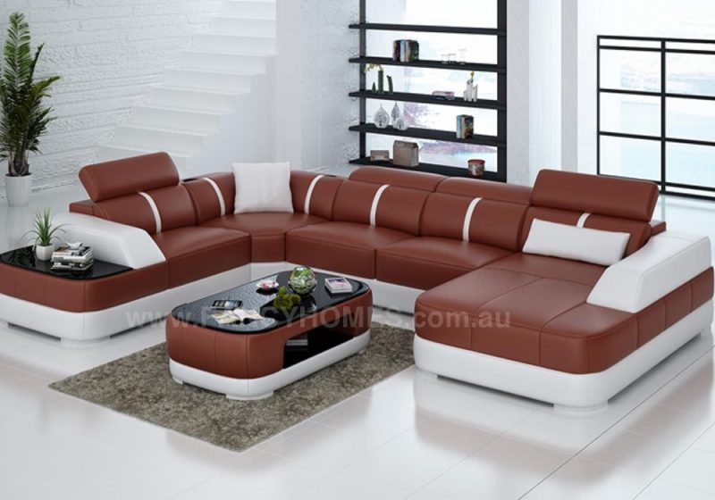 Fancy Homes Sofia modular leather sofa in red and white leather