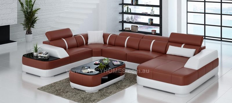 Fancy Homes Sofia modular leather sofa with built-in side table