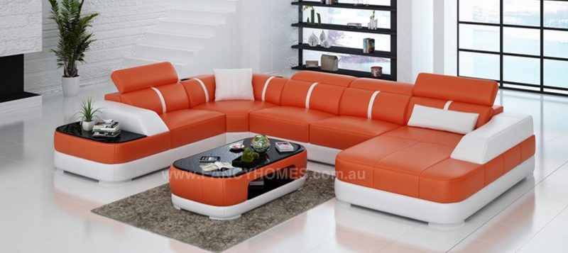 Fancy Homes Sofia modular leather sofa in orange and white leather
