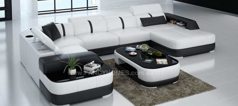 Fancy Homes Sofia modular leather sofa in white and black leather