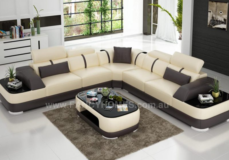 Fancy Homes Sofia-B corner leather sofa in beige and brown leather