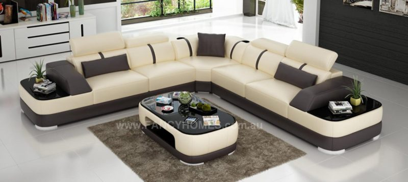 Fancy Homes Sofia-B corner leather sofa in beige and brown leather featuring built-in side tables
