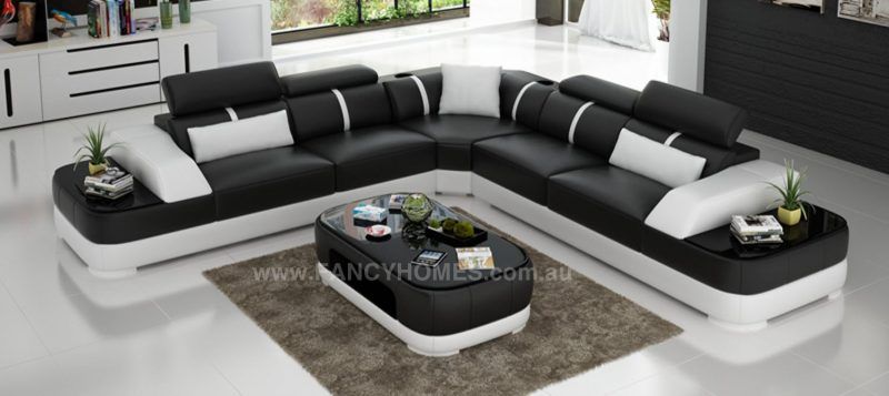 Fancy Homes Sofia-B corner leather sofa in black and white leather