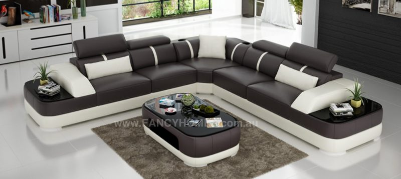 Fancy Homes Sofia-B corner leather sofa in brown and white leather