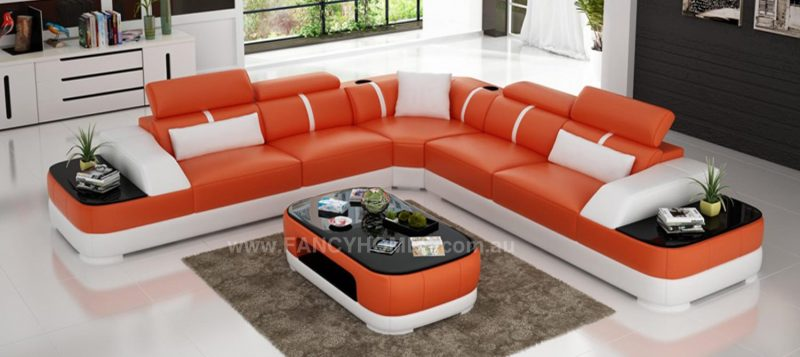 Fancy Homes Sofia-B corner leather sofa in orange and white leather