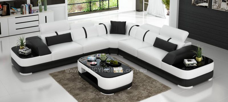 Fancy Homes Sofia-B corner leather sofa in white and black leather
