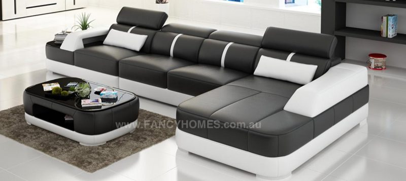 Fancy Homes Sofia-C chaise leather sofa in black and white leather