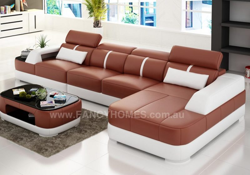 Fancy Homes Sofia-C chaise leather sofa in red and white leather