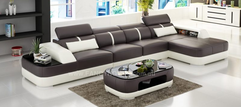 Fancy Homes Sofia-C chaise leather sofa in brown and white leather