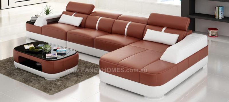 Fancy Homes Sofia-C chaise leather sofa in red and white leather featuring built-in side table with tempered glass on top