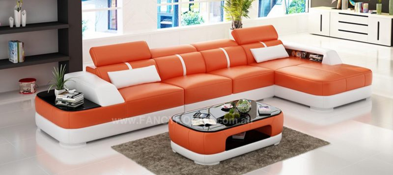 Fancy Homes Sofia-C chaise leather sofa in orange and white leather featuring built-in side table with tempered glass on top