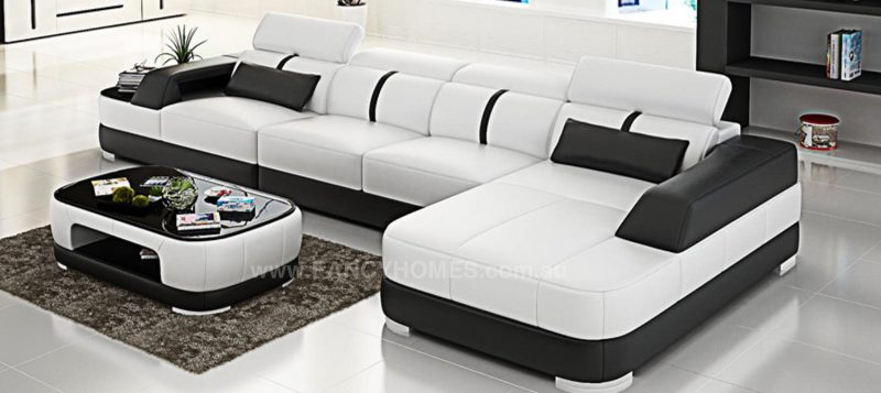 Fancy Homes Sofia-C chaise leather sofa in white and black leather