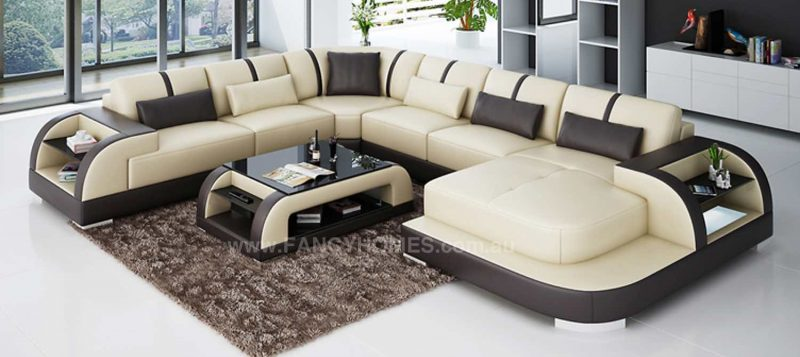 Fancy Homes Tobia modular leather sofa in beige and brown leather