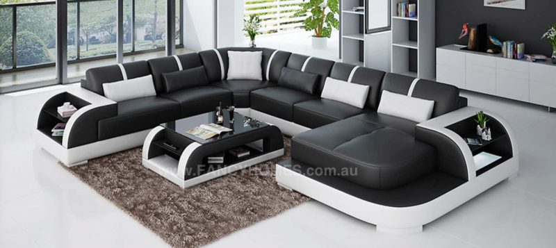Fancy Homes Tobia modular leather sofa in black and white leather