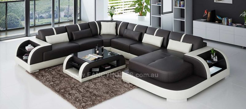 Fancy Homes Tobia modular leather sofa in brown and white leather