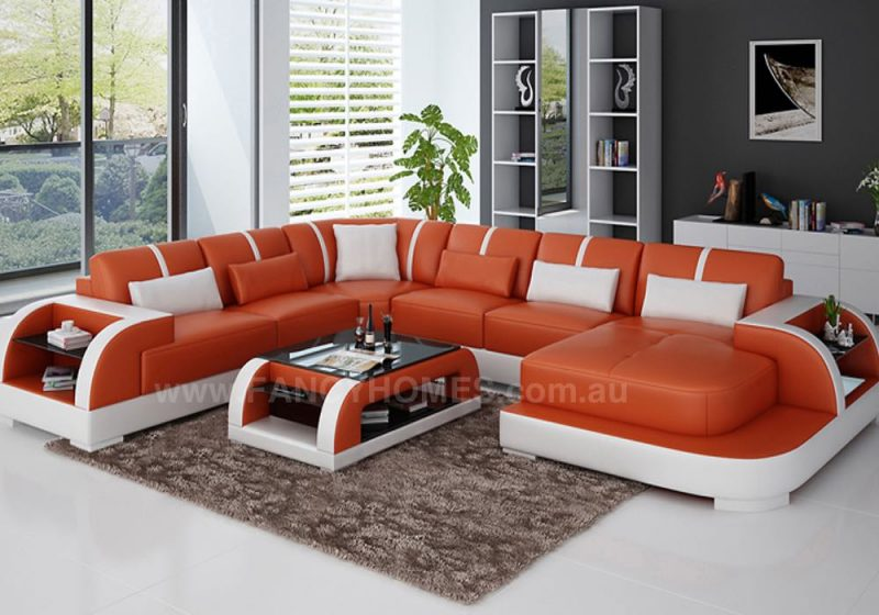 Fancy Homes Tobia modular leather sofa in orange and white leather