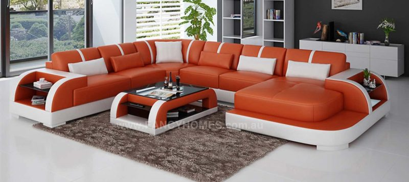 Fancy Homes Tobia modular leather sofa in orange and white leather with LED lighting systems and open-shelf displays