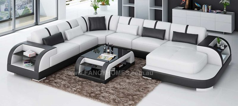 Fancy Homes Tobia modular leather sofa in white and black leather