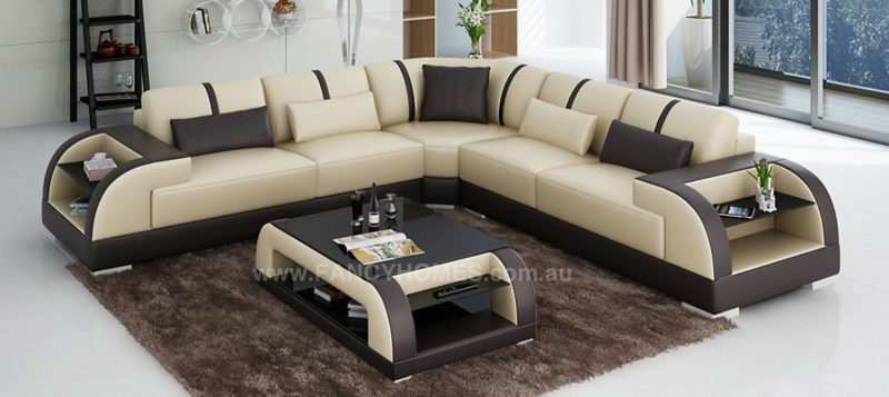 Fancy Homes Tobia-B corner leather sofa in beige and brown leather