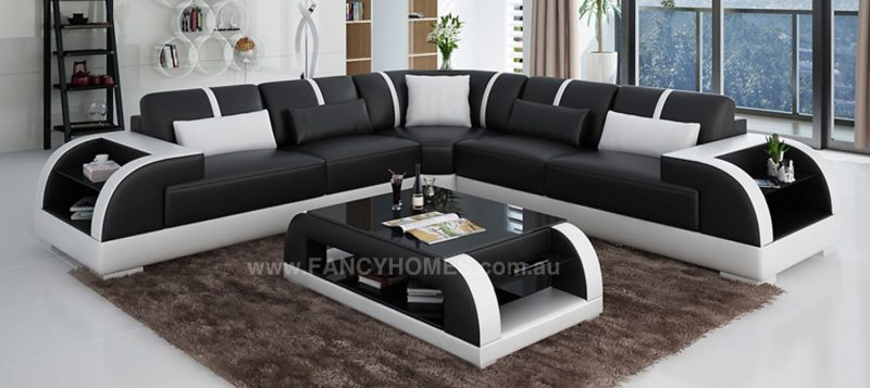 Fancy Homes Tobia-B corner leather sofa in black and white leather