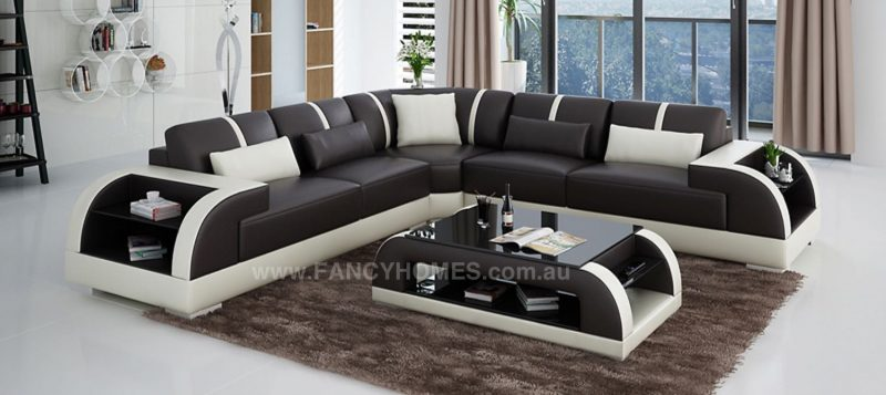 Fancy Homes Tobia-B corner leather sofa in brown and white leather