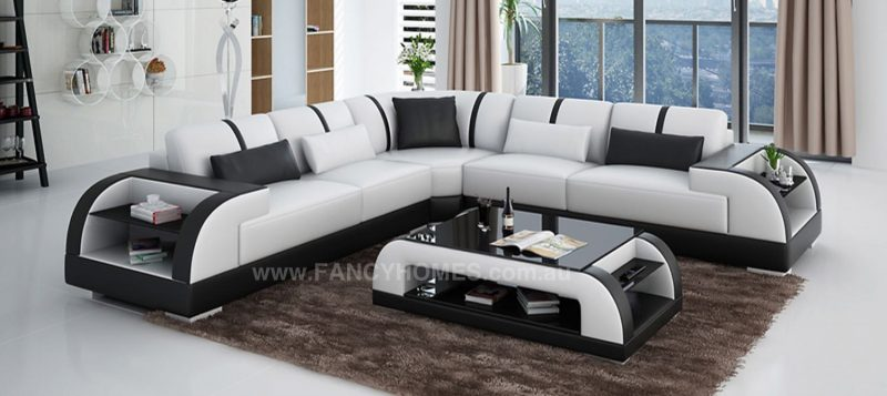 Fancy Homes Tobia-B corner leather sofa in white and black leather