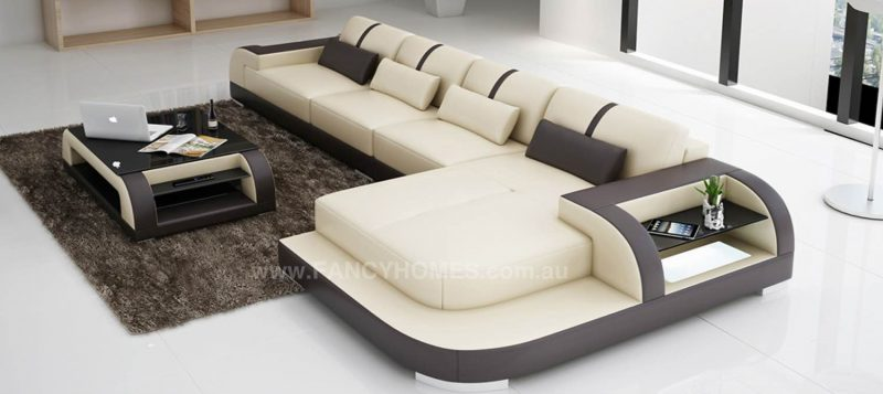 Fancy Homes Tobia-C chaise leather sofa in beige and brown