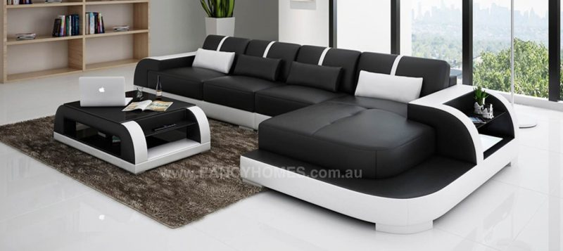 Fancy Homes Tobia-C chaise leather sofa in black and white leather
