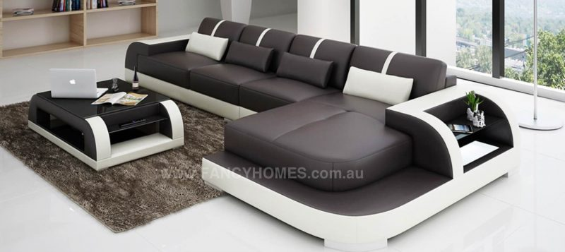 Fancy Homes Tobia-C chaise leather sofa in brown and white leather
