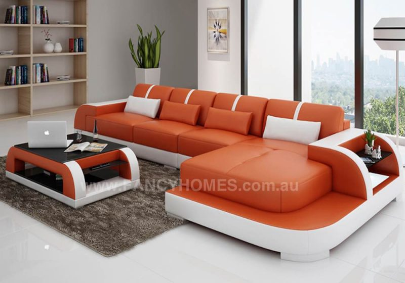 orange leather chaise lounge