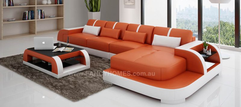 Fancy Homes Tobia-C chaise leather sofa in orange and white leather