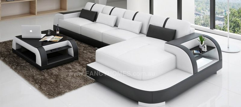 Fancy Homes Tobia-C chaise leather sofa in white and black leather