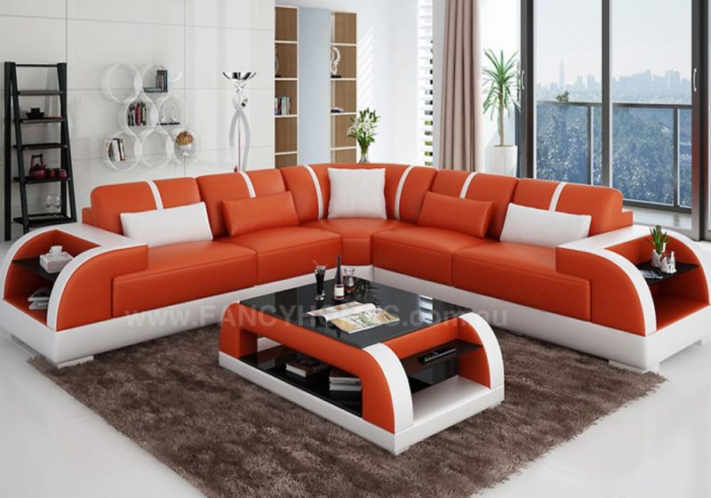 Fancy Homes Tobia-B corner leather sofa in orange and white leather