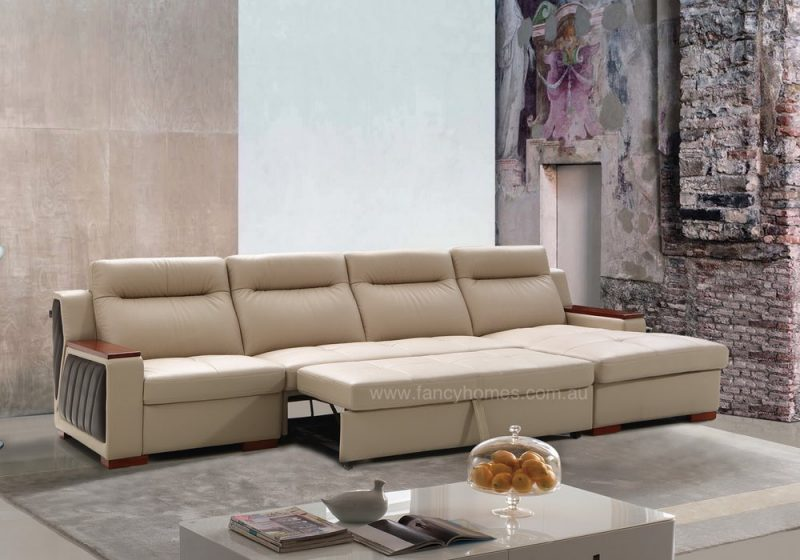 LEATHER CHAISE SOFA BED