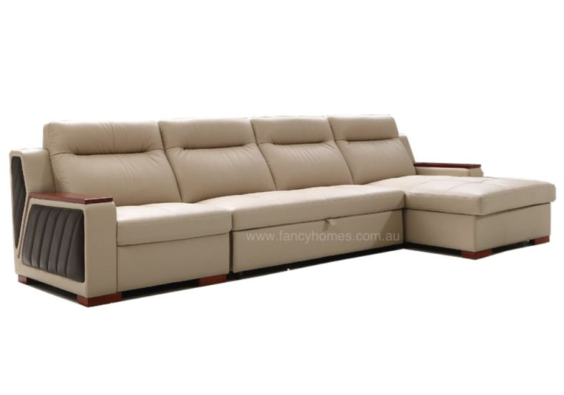 Fancy Homes Arizona chaise leather sofa in beige leather