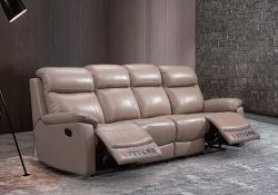 Fancy Homes Brooks-B recliner leather sofa in tan colour leather with manual or electrical recliners