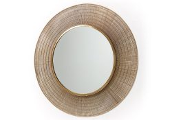 round mirror in metal rods