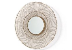round mirror in metal grid