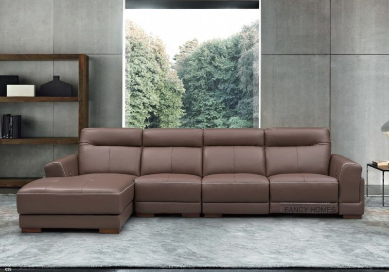 Leather electric recliner chaise lounge