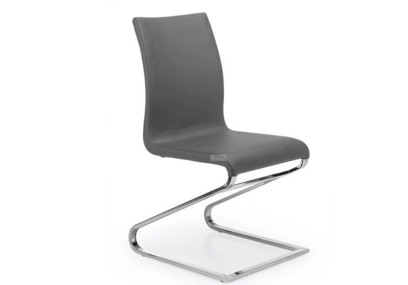 leather chair with chrome feet.