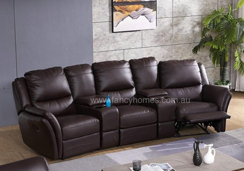 Fancy Homes Chino recliner leather sofa four-seater in brown with manual or electrical recliners