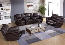 Fancy Homes Chino recliner leather sofa in brown leather with manual or electrical recliners