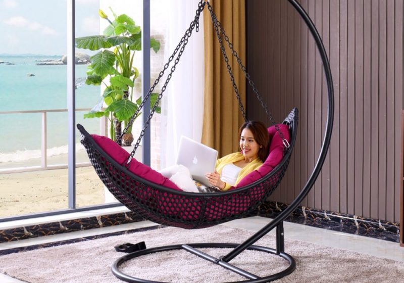 Fancy Homes BP906-B hanging chair, hanging chairs features wicker basket and aluminium frame