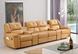 Fancy Homes Castor recliner leather sofa in beige leather with manual or electrical recliners