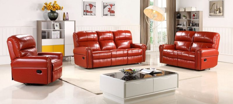 Fancy Homes Toronto recliner leather sofa in red leather