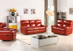 Fancy Homes Toronto recliner leather sofa in red leather with manual or electrical recliners