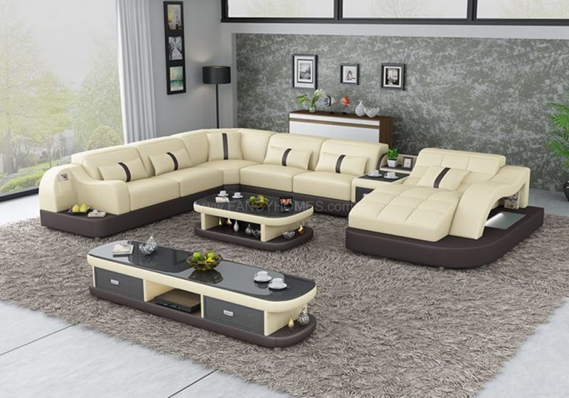Fancy Homes Danica modular leather sofa in beige and brown leather with open-shelf displays and LED lighting systems