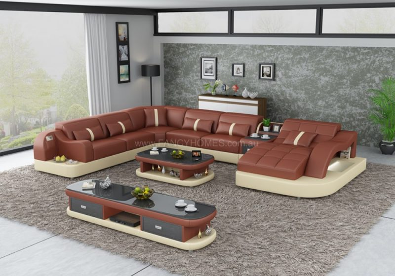 Fancy Homes Danica modular leather sofa in maroon and beige leather with open-shelf displays and LED lighting systems