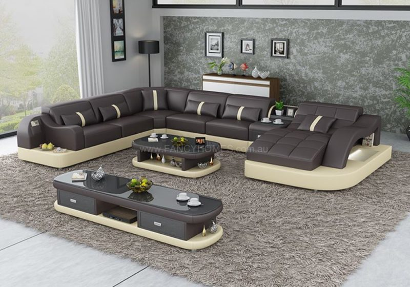 Fancy Homes Danica modular leather sofa in brown and beige leather with open-shelf displays and LED lighting systems