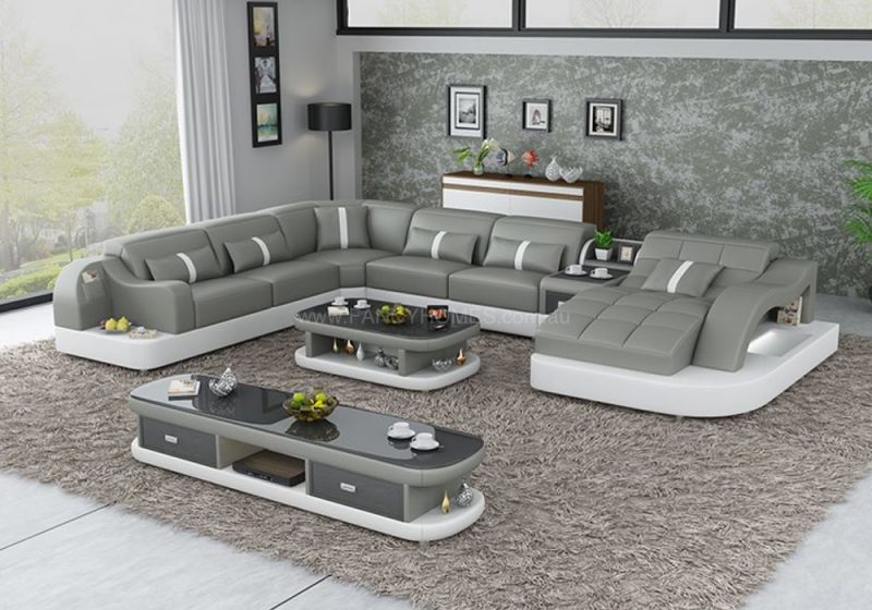 Fancy Homes Danica modular leather sofa in grey and white leather with open-shelf displays and LED lighting systems
